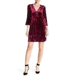 Eliza J Purple Bell Sleeve Crushed Velvet Dress